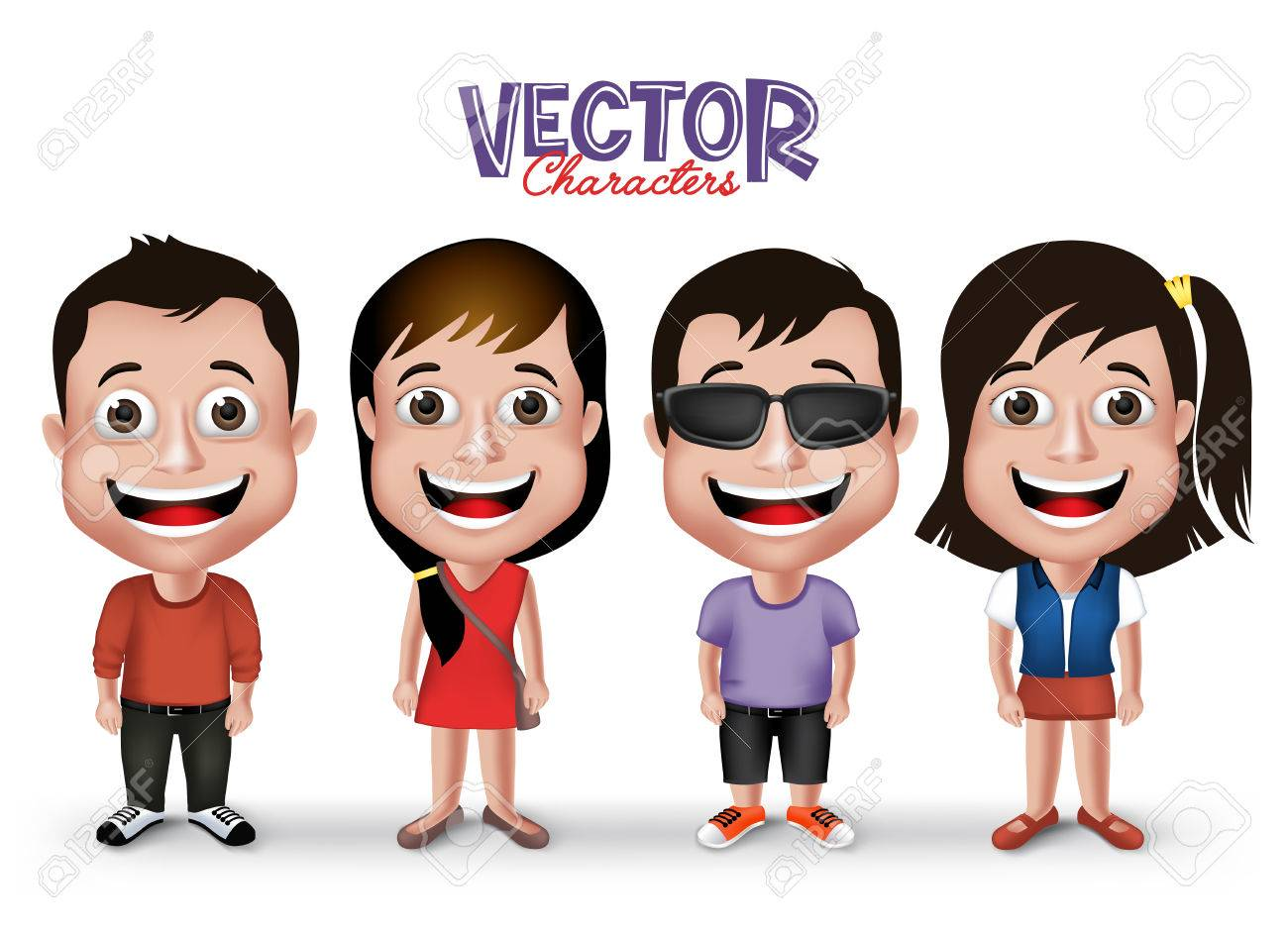 Set of Realistic 3D Boys and Girls Young Adult Kids Characters Happy  Smiling in Casual Dress