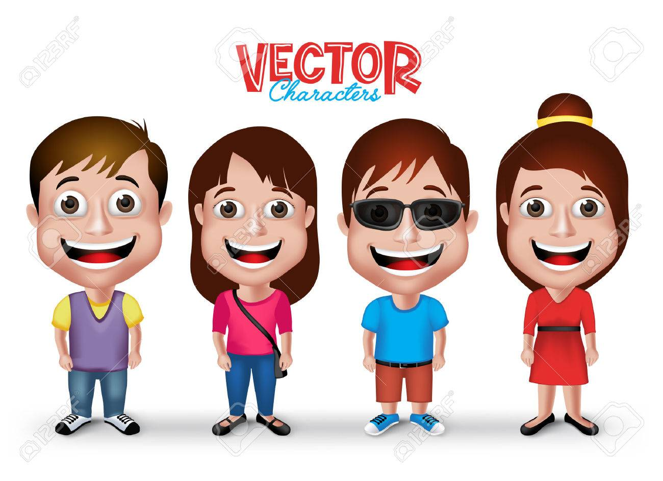 Set of Realistic 3D Boys and Girls Young Adult Kids Characters Happy Smiling in Casual Dress Fashion Isolated in White Background. - 43261152