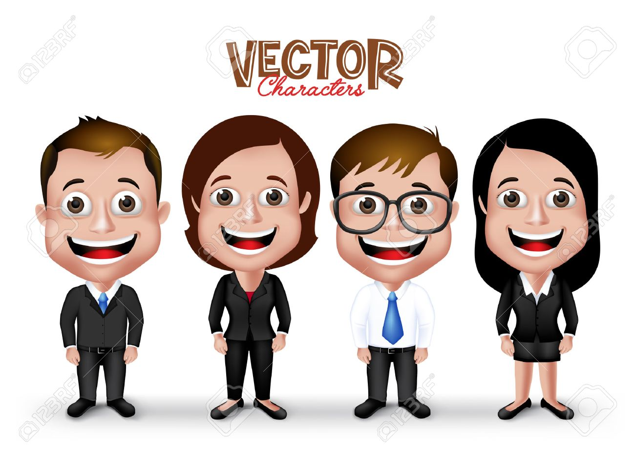 Set of Realistic 3D Professional Man and Woman Characters Happy Smiling in Formal Dress Attire for Business Isolated in White Background. - 43261088