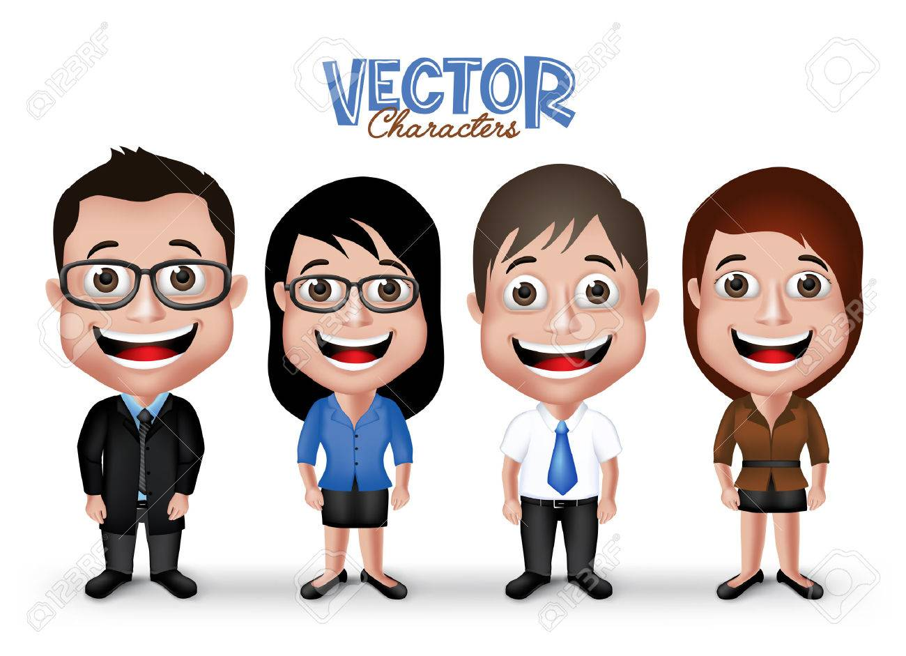 Set of Realistic 3D Professional Man and Woman Characters Happy Smiling in Formal Dress Attire for Business Isolated in White Background. - 43261138
