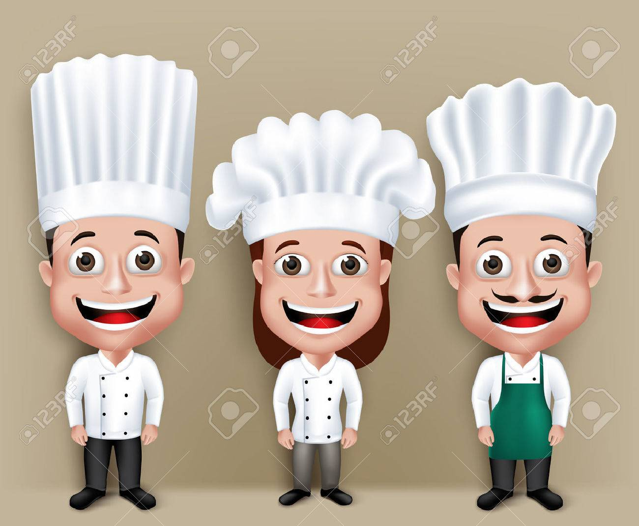 Set of Realistic 3D Chef Man and Woman Characters Happy Smiling in Culinary Dress Attire for Cooking. - 43261133