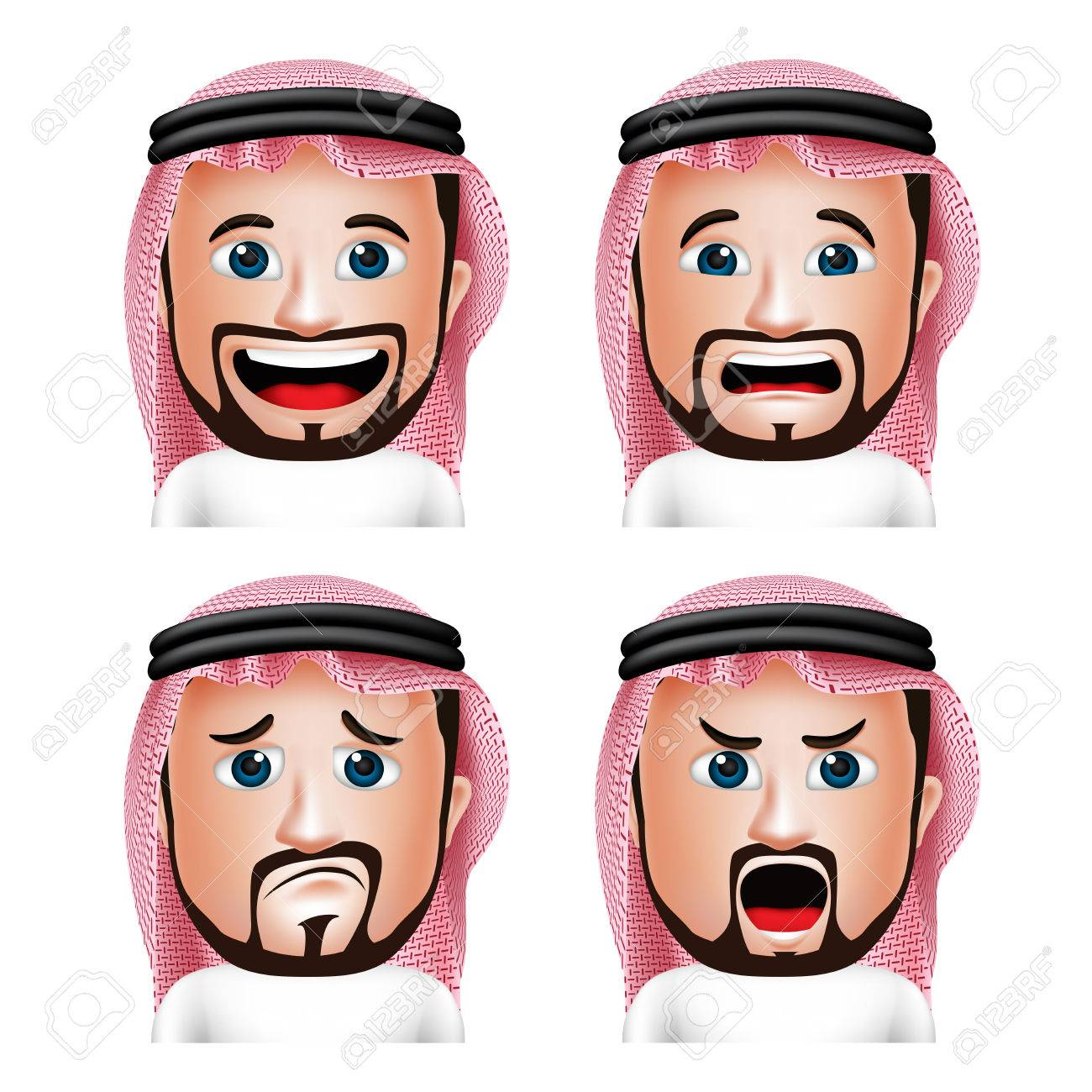 Set of 3D Realistic Saudi Arab Man Head with Different Facial Expressions Wearing Thobe Avatar Isolated in White Background. Editable Vector Illustration - 43875140