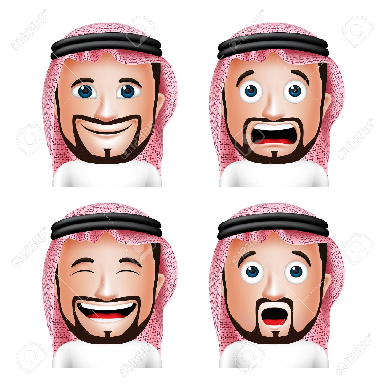 Set of 3D Realistic Saudi Arab Man Head with Different Facial Expressions Wearing Thobe Avatar Isolated in White Background. Editable Vector Illustration - 43875172