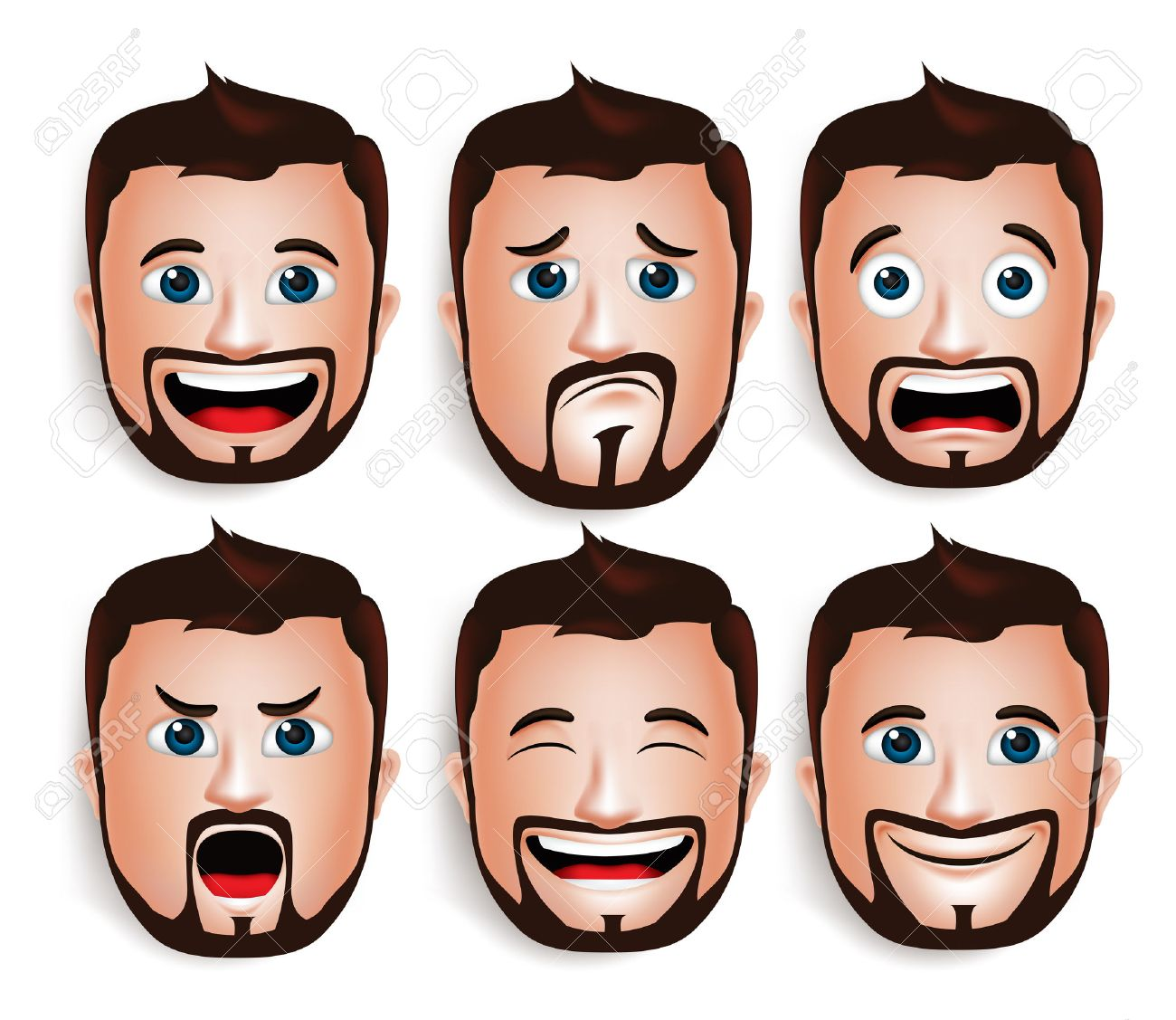 Set of 3D Realistic Handsome Man Head with Different Facial Expressions With Beard Avatar. Isolated in White Background Editable Vector Illustration - 43875181