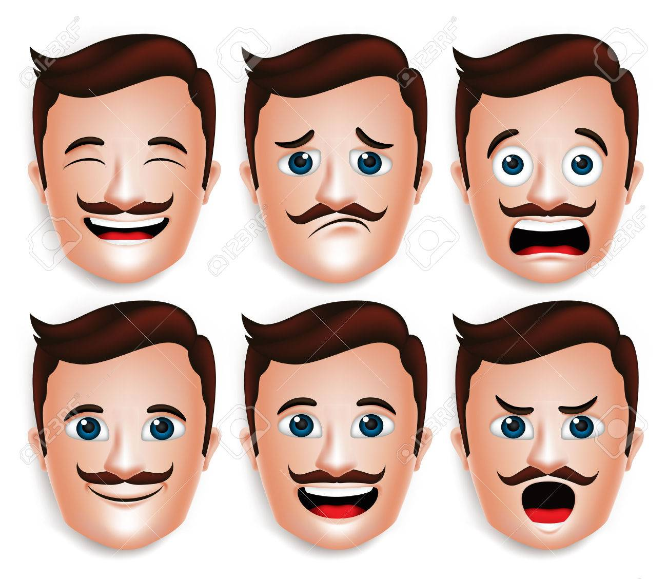 Set of 3D Realistic Handsome Man Head with Different Facial Expressions With Mustache for Avatar. Isolated in White Background Editable Vector Illustration - 43875182