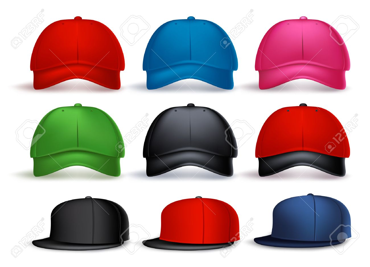 Set of 3D Realistic Baseball Cap for Man and Woman with Variety of Colors Isolated in White Background. Vector Illustration - 43950072