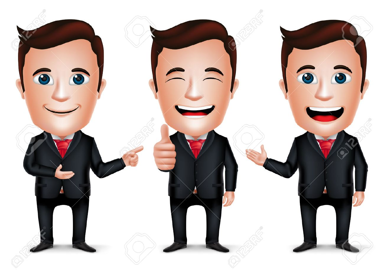 3D Realistic Businessman Cartoon Character with Different Pose and Hand Gesture Wearing Black Suit Isolated in White Background. Set of Vector Illustration. - 44166047