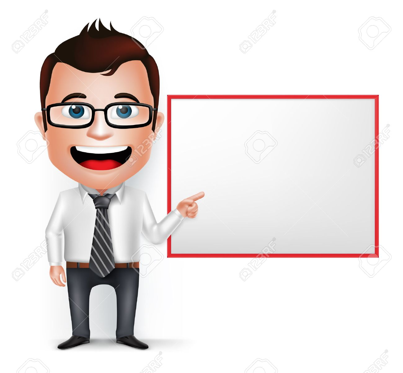 3D Realistic Businessman Cartoon Character Teaching or Showing Blank White Board Isolated in White Background. Vector Illustration. - 44166055