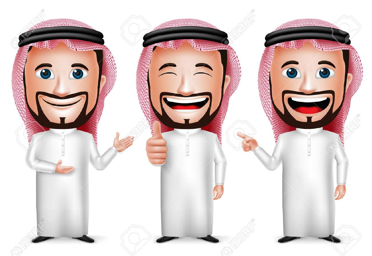 3D Realistic Saudi Arab Man Cartoon Character with Different Pose and Hand Gesture Wearing Thobe Isolated in White Background. Set of Vector Illustration. - 44166061
