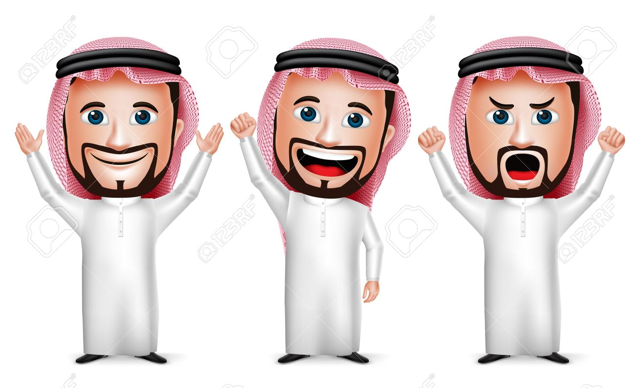 3D Realistic Saudi Arab Man Cartoon Character Raising Hands Up Gesture Wearing Thobe Isolated in White Background. Set of Vector Illustration. - 44166063