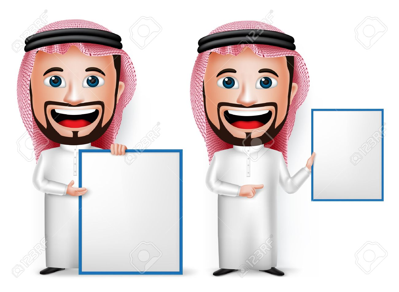 3d realistic saudi arab man cartoon character showing blank white