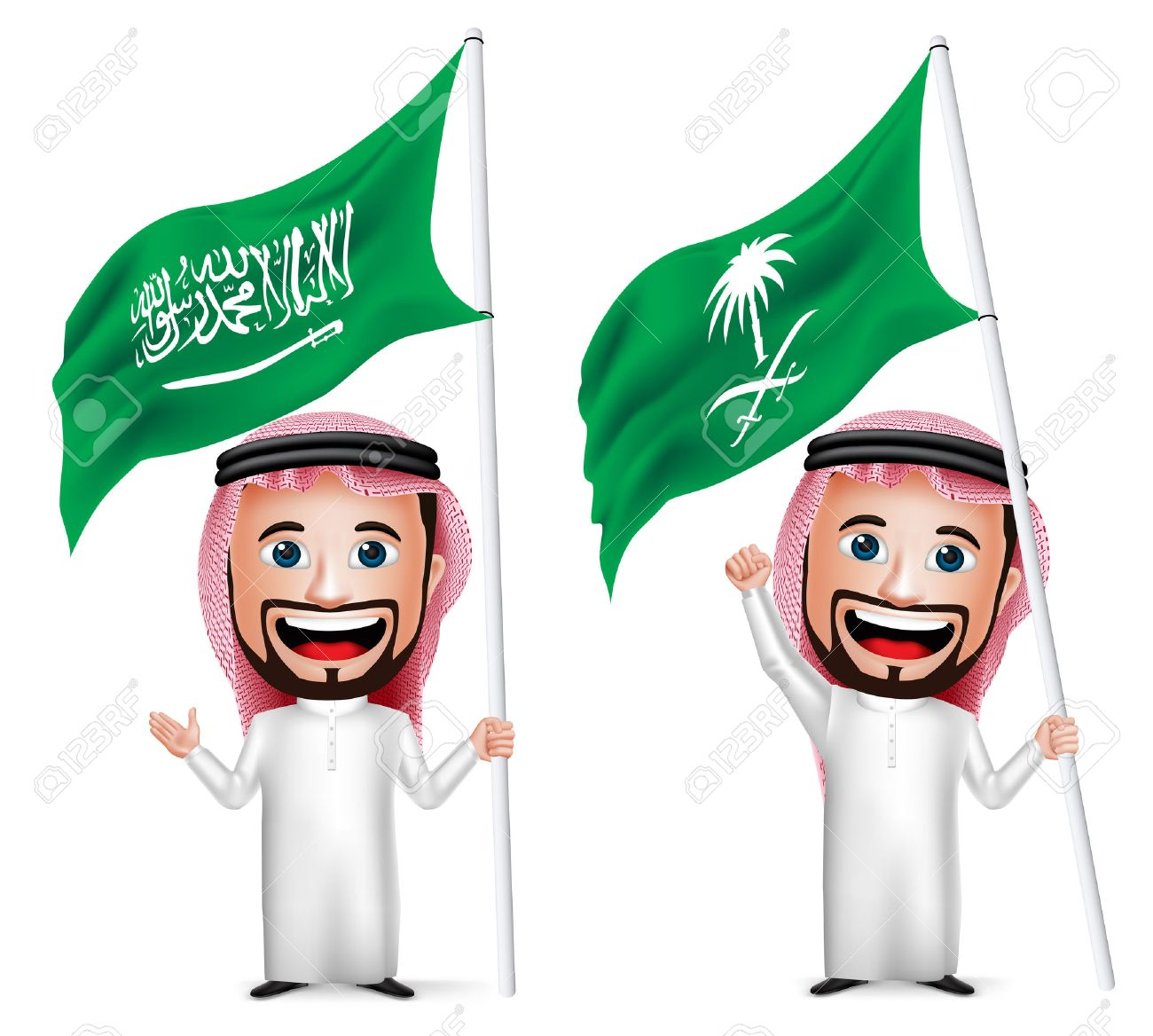 3D Realistic Saudi Arab Man Cartoon Character Holding and Waving Saudi Arabia Flag for National Day Isolated in White. Vector Illustration. - 44288077