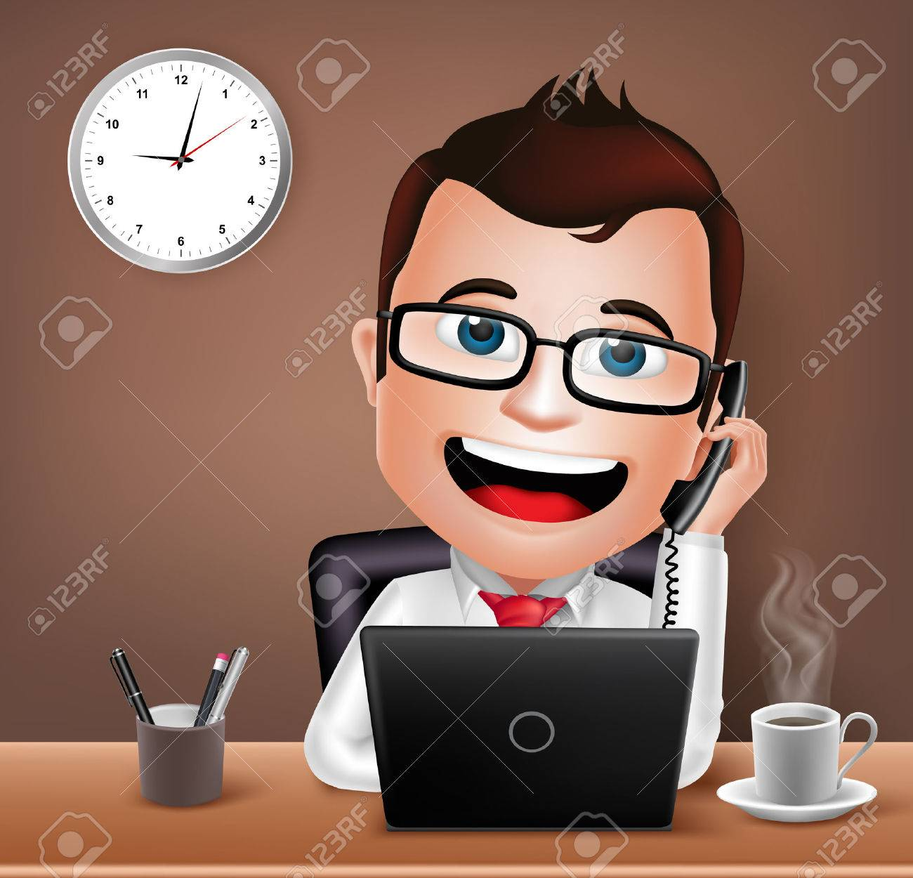 Realistic 3D Businessman Character Working on Office Desk Table with Laptop Talking on Telephone. Vector Illustration - 44816106