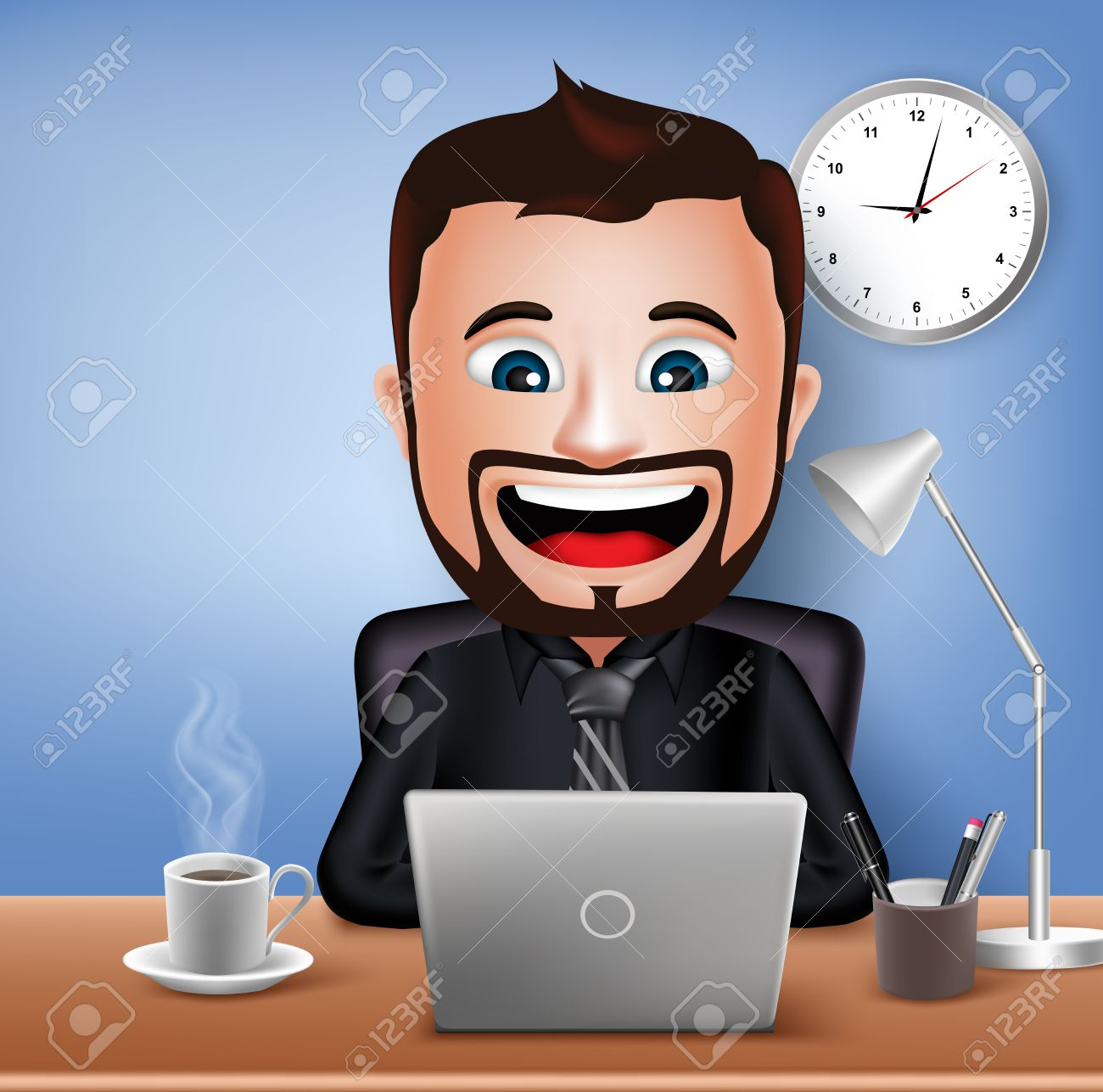 Realistic 3D Businessman Character Working on Office Desk Table with Laptop. Vector Illustration - 44816695