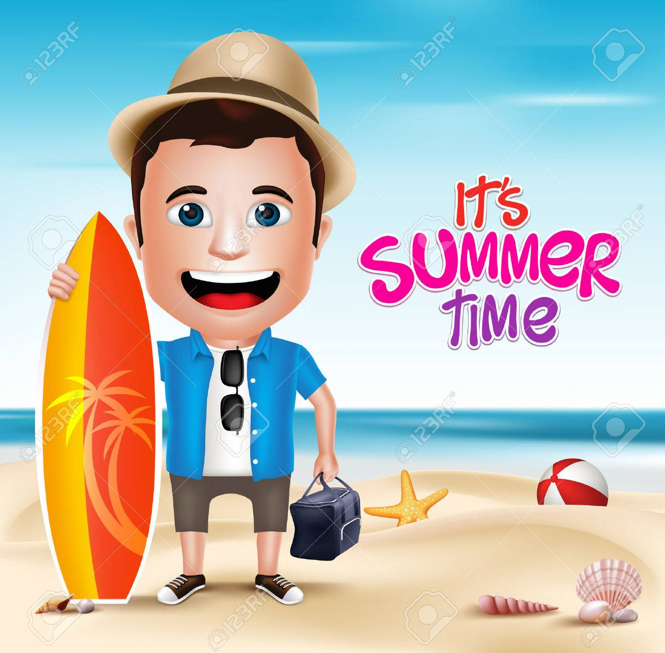3D Realistic Man Character Wearing Summer Outfit Holding Surfing Board in Beach Background. Vector Illustration - 44857336