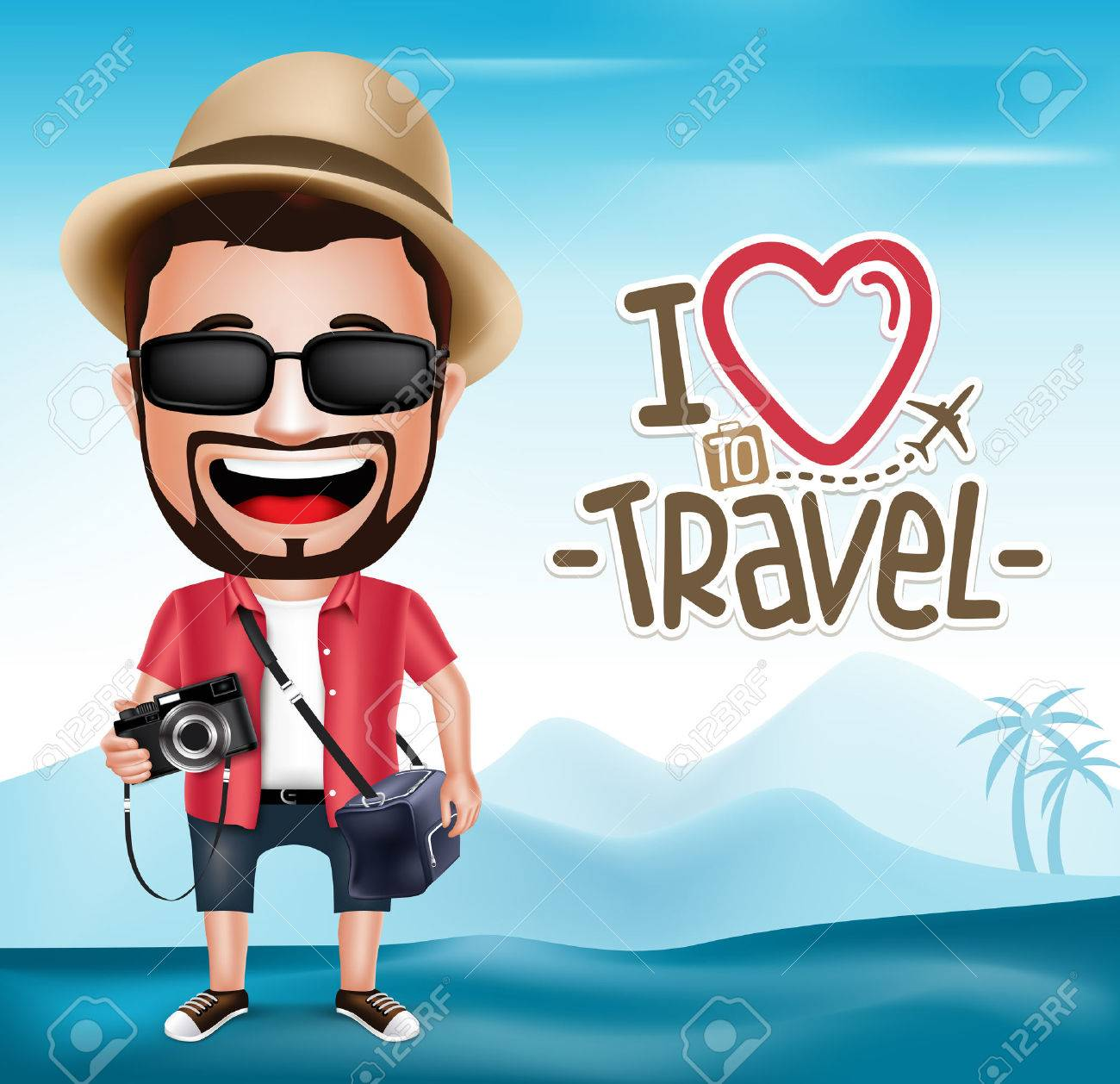3D Realistic Tourist Man Character Wearing Photographer Outfit with Mountain Background. Vector Illustration - 44862340
