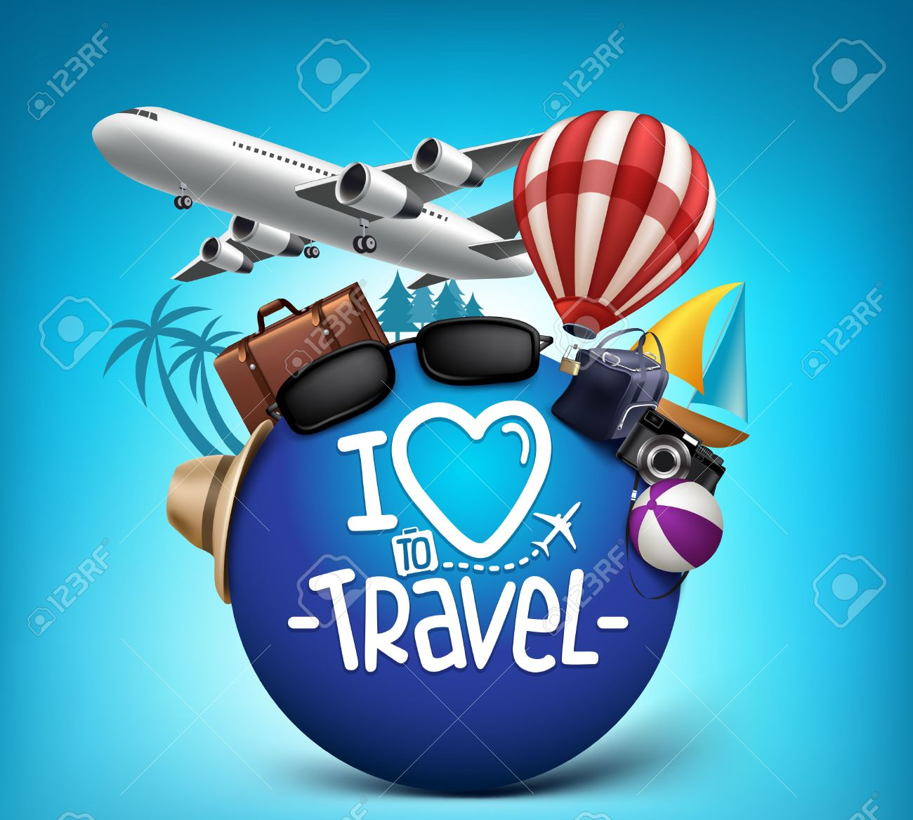 Poster design 3d - 3d Realistic Travel And Tour Poster Design Around The World With Summer Elements Vector Illustration