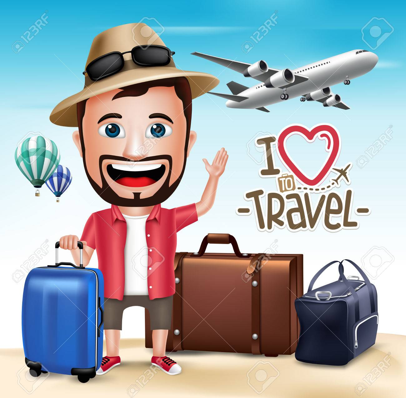 3D Realistic Tourist Man Character Wearing Summer Outfit with Set of Bags and Airplane. Vector Illustration - 44952465