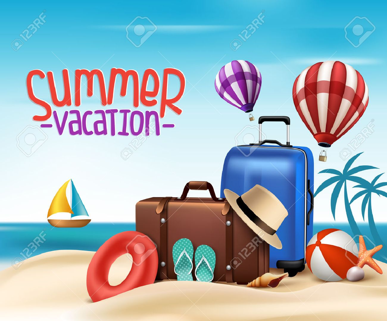 Poster design 3d - 3d Realistic Summer Vacation Poster Design With Bags In Beach Sea Shore Vector Illustration Stock