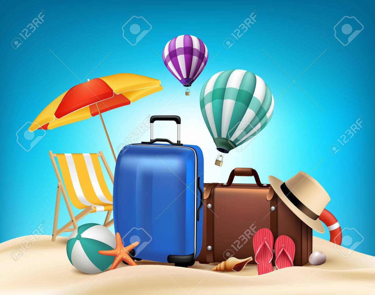 3D Realistic Summer Vacation Poster Design with Bags in Beach Sea Shore. Vector Illustration - 44952469