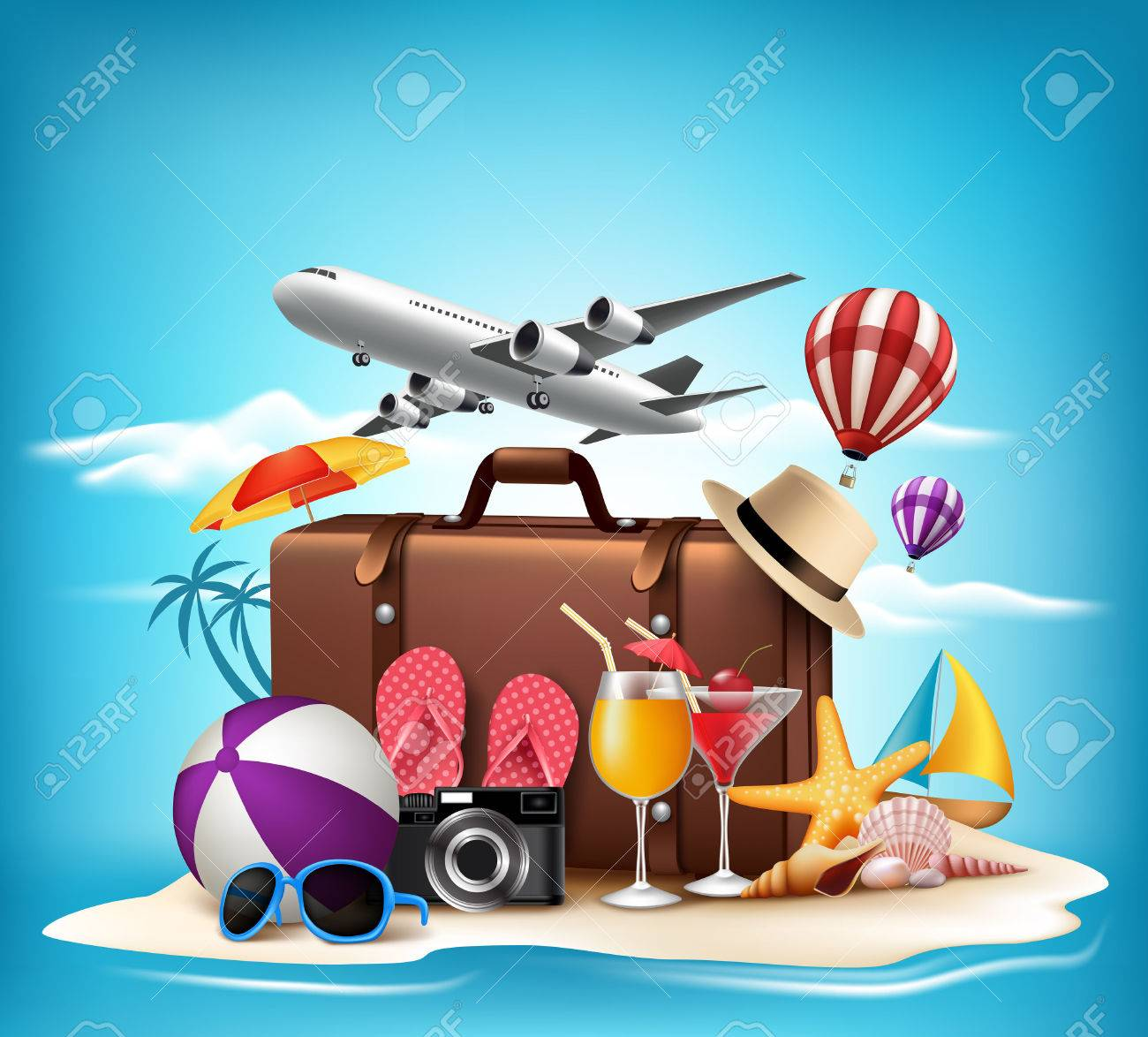 3D Realistic Summer Vacation Design for Travel in a Sand Beach Island in Horizon with Summer Items. Vector Illustration Stock Vector - 44952470