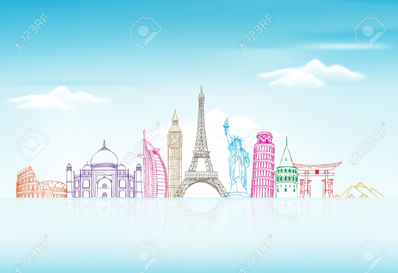 Travel and Tourism Background with Famous World Landmarks in 3d Realistic and Sketch Drawing Elements. Vector Illustration - 45072950