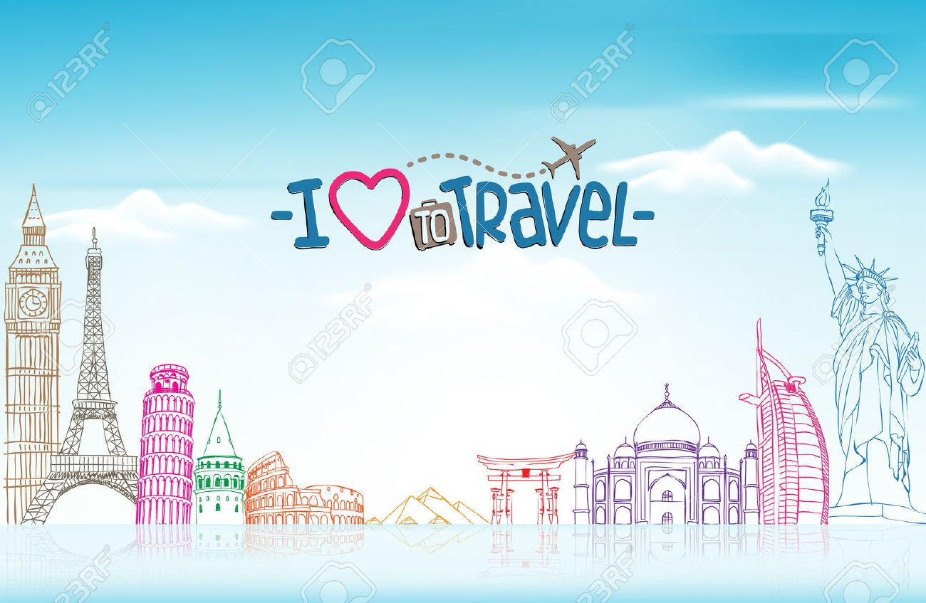 Travel and Tourism Background with Famous World Landmarks in 3d Realistic and Sketch Drawing Elements. Vector Illustration Stock Vector - 45072951