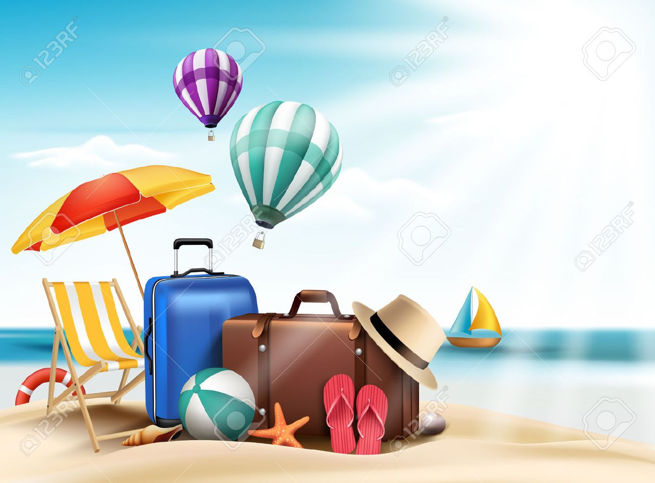 3d realistic summer travel and vacation poster design with editable