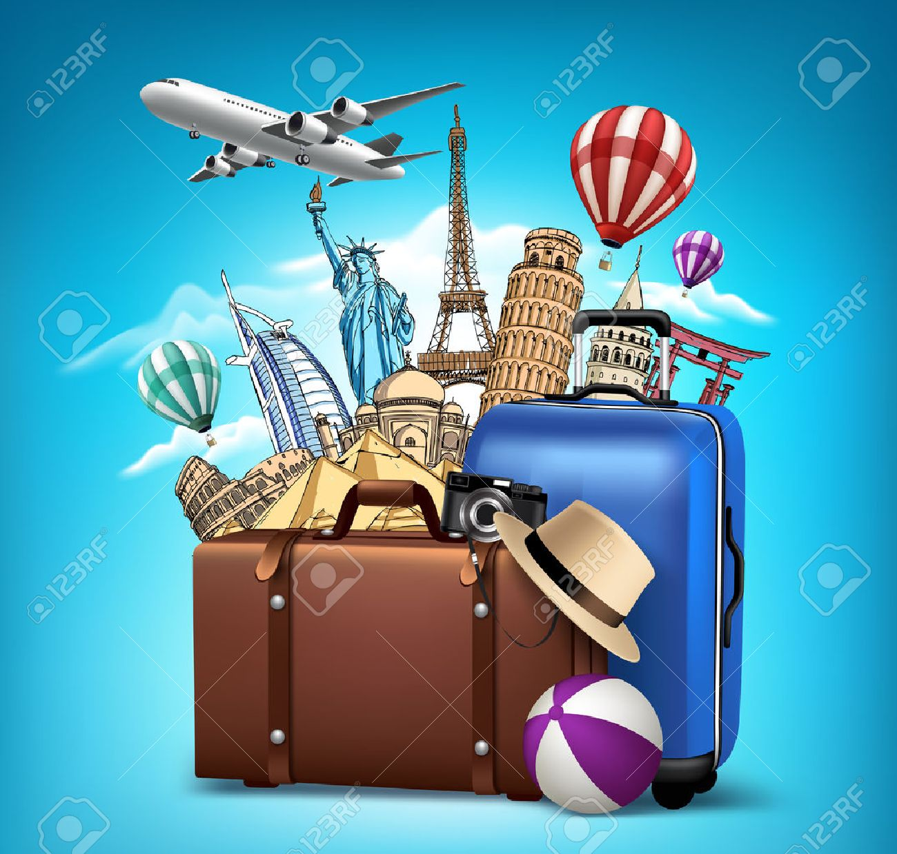 Travel and Tourism with Famous World Landmarks in 3d Realistic and Drawing Elements. Vector Illustration - 45072953