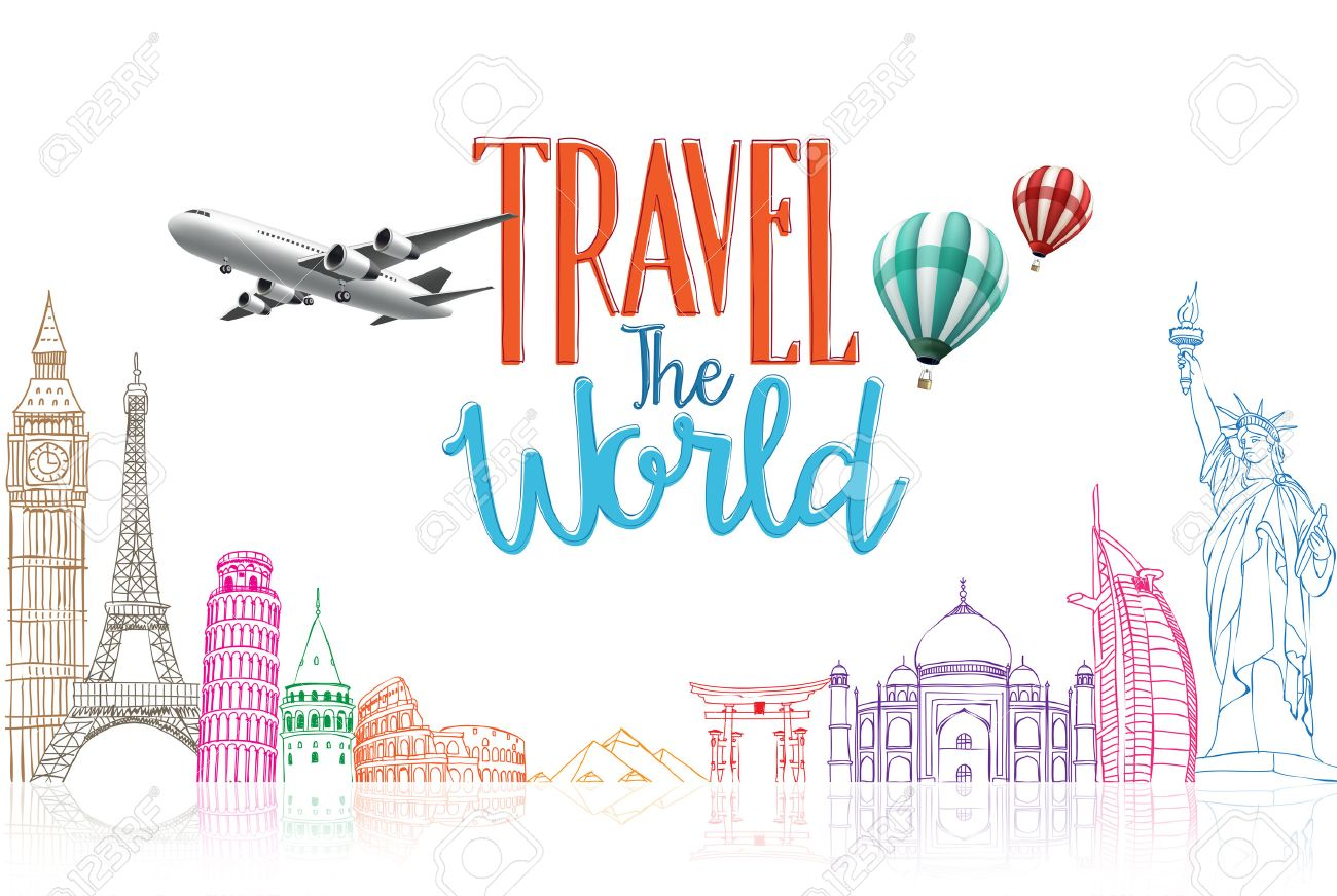 Travel The World Title Concept Design Background Of Line Drawing Famous Landmarks In White