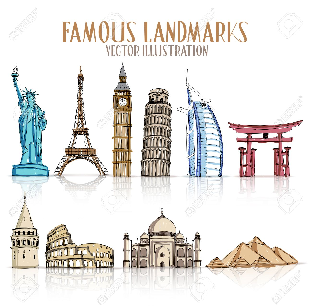 Set of Colorful Drawing of Famous and Popular Landmarks for Traveling Isolated in White Background. Vector Illustration - 45259473