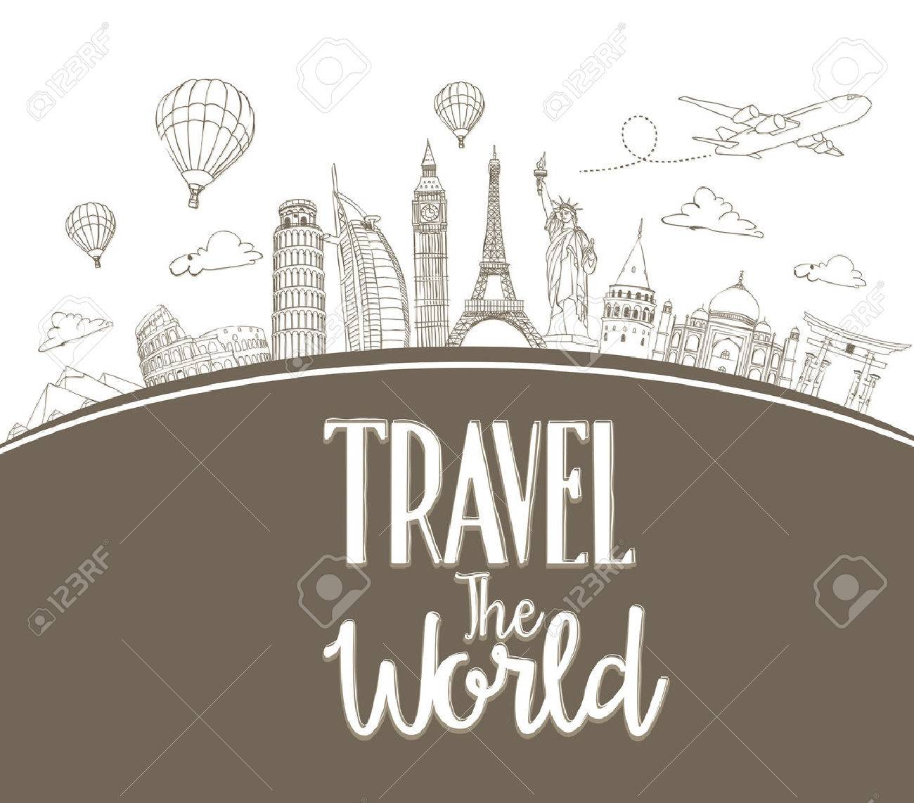 Travel The World Design Background Of Line Drawing Famous Landmarks Around Vector