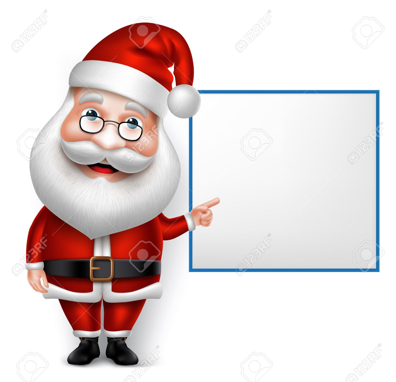 3D Realistic Santa Claus Cartoon Character for Christmas Holding Blank Board Isolated in White Background. Vector Illustration - 45509060