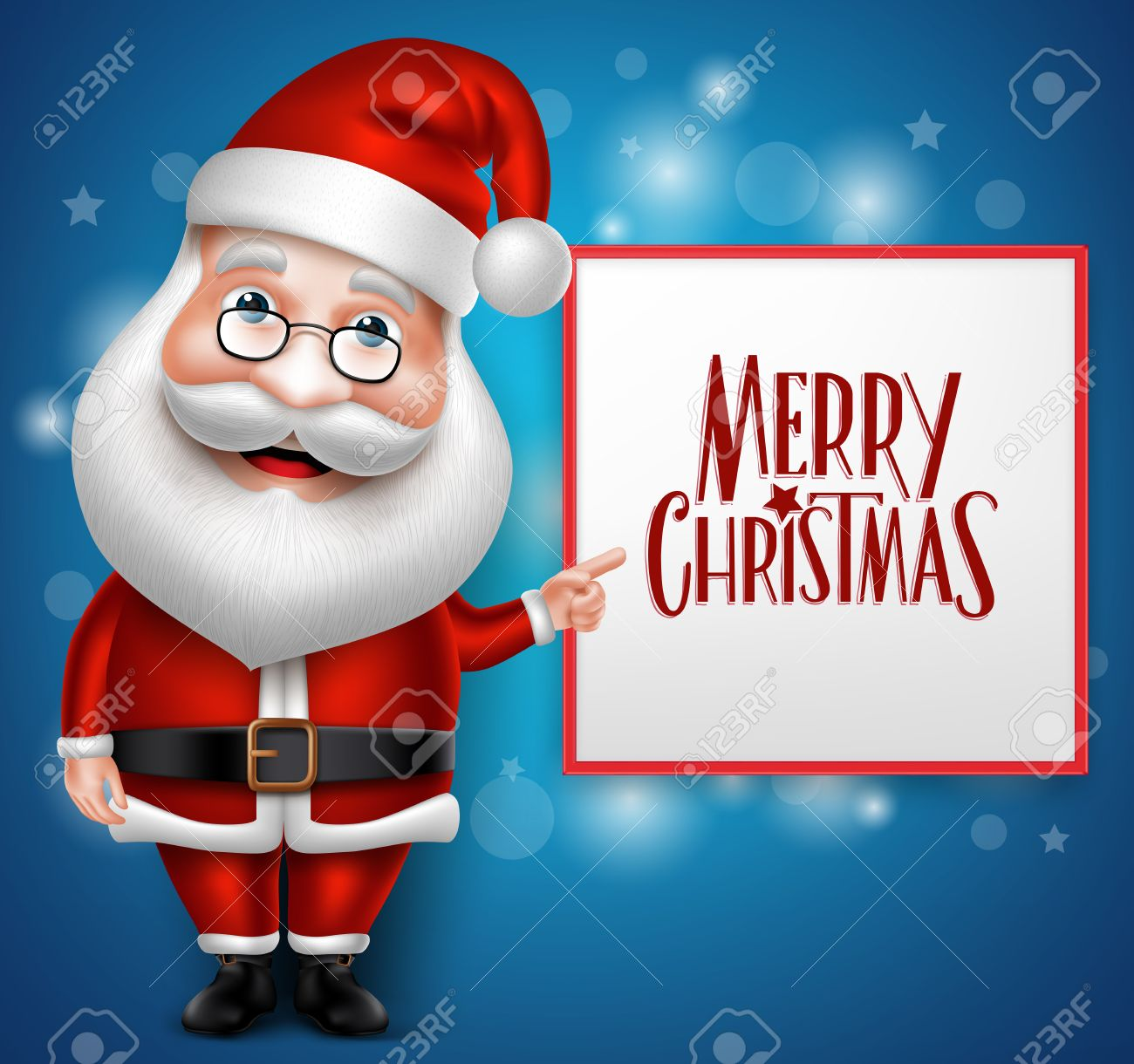 3D Realistic Santa Claus Cartoon Character Showing Merry Christmas Written in Blank Board with Blue Background. Vector Illustration - 45509063