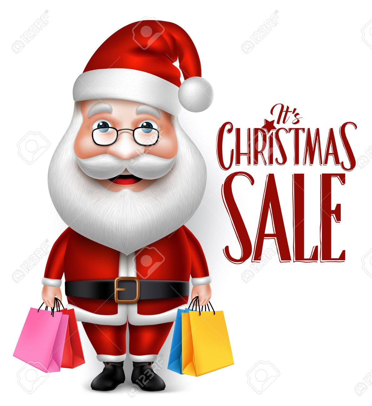 3D Realistic Santa Claus Cartoon Character Holding Shopping Bags Isolated in White Background. Vector Illustration - 45509064