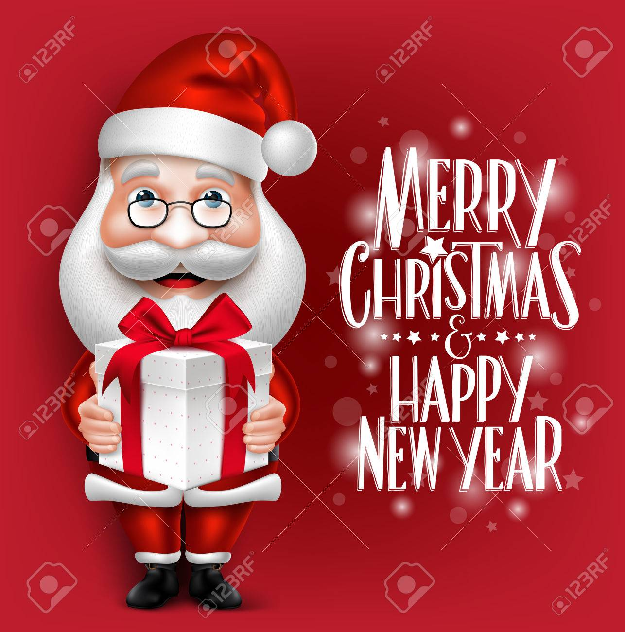 3D Realistic Santa Claus Cartoon Character Holding Christmas Gift in a Red Background with Title. Detailed Vector Illustration - 45509073