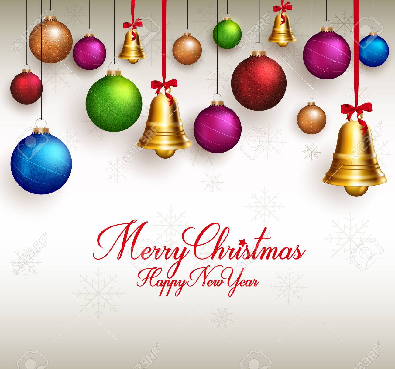 3d Realistic Merry Christmas Greetings With Hanging Colorful