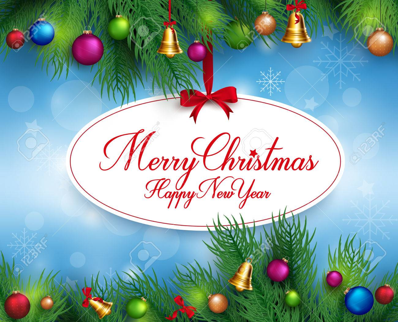3d Realistic Merry Christmas Greetings Hanging With Pine Leaves