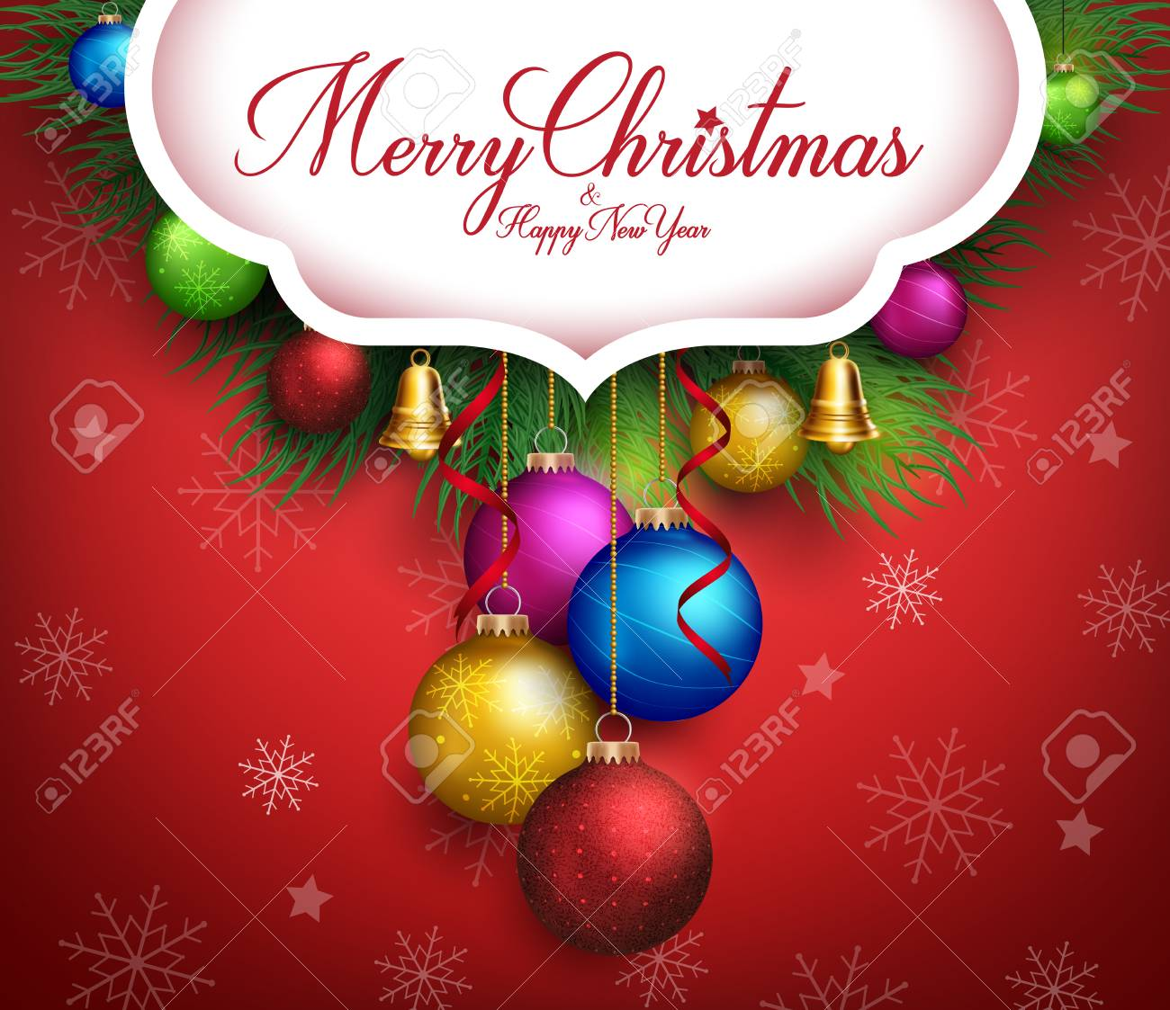 3d Realistic Merry Christmas Greetings Text With Hanging Colorful