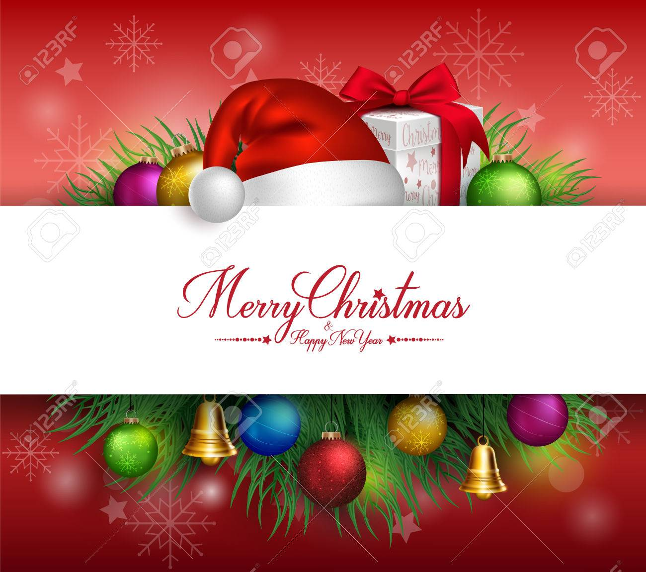 Merry Christmas Greetings Card in White Space for Text with Decorations and Objects in Background. Vector Illustration - 46314200