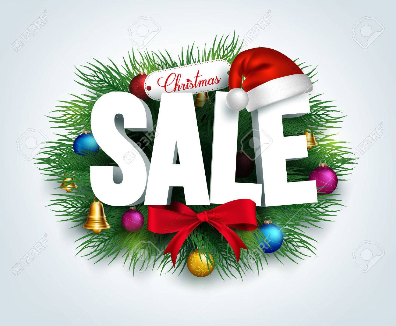 3D Christmas Sale Text For Promotion With A Leaves And Christmas ...