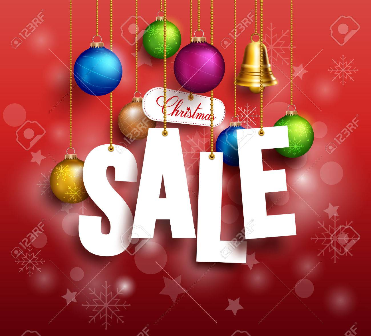 3D Christmas Sale Text Hanging for Promotion with a Christmas Balls and Decorations in Red Background. Realistic Vector Illustration - 46524784