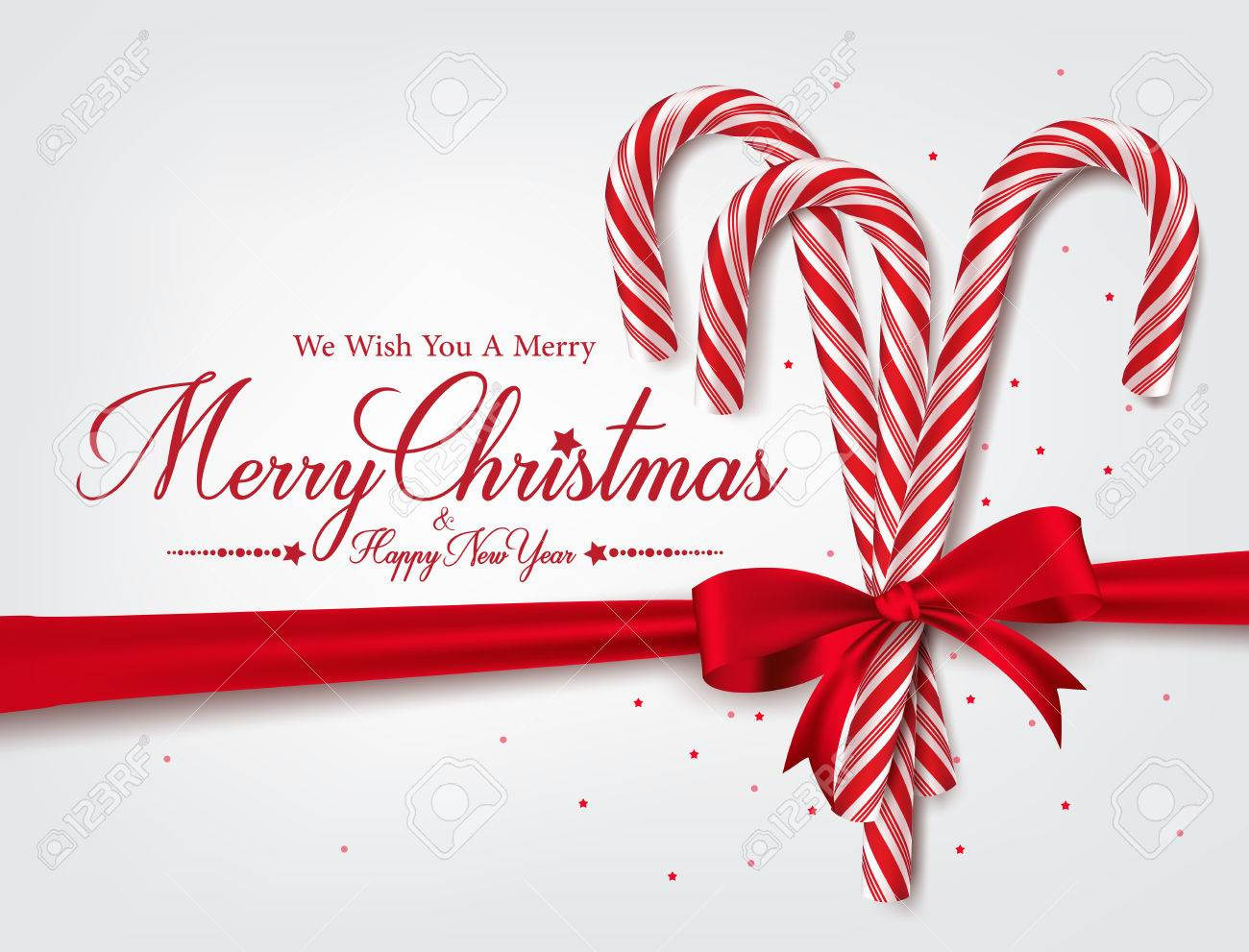 Merry Christmas Greetings In Realistic 3D Candy Cane And Christmas ...