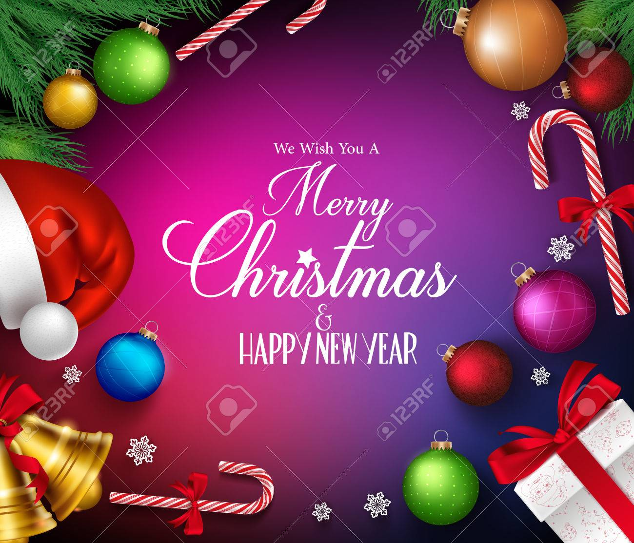 Merry Christmas Greetings In Realistic Decorations And Objects