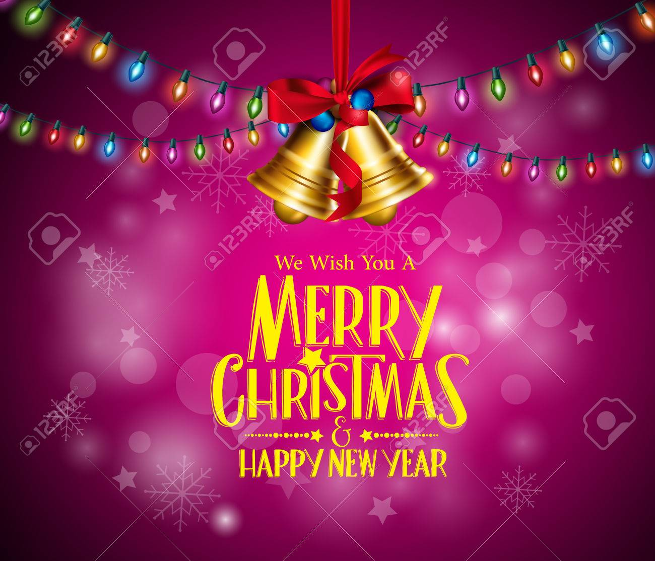 Merry christmas greetings with realistic 3d bells and colorful merry christmas greetings with realistic 3d bells and colorful christmas lights hanging in dark night background kristyandbryce Image collections
