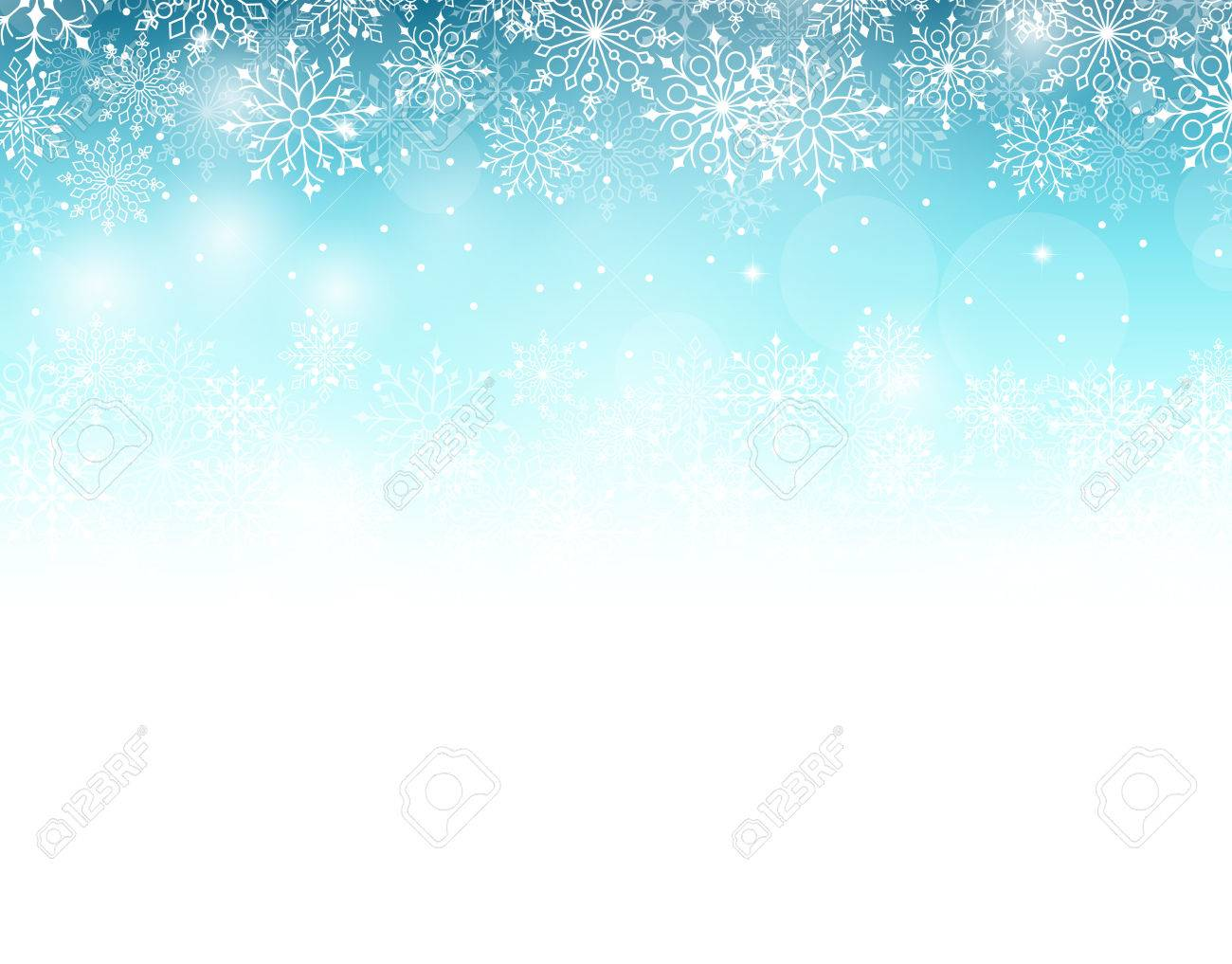 Winter Background with Various Cold Blue Snowflakes Pattern. Vector Illustration - 47108727