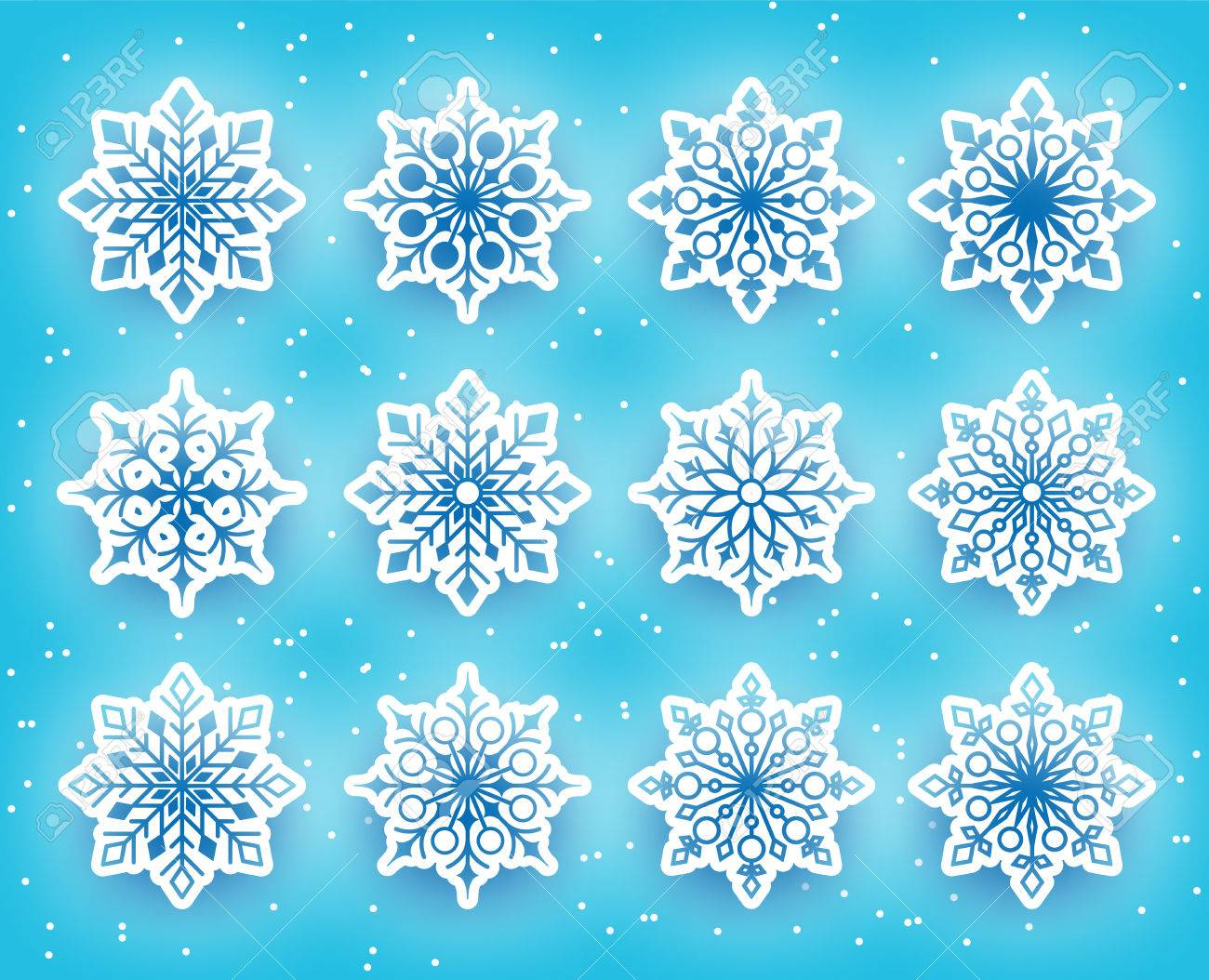Beautiful Snowflakes Set for Winter Season in Snowy Background. Vector Illustration - 47108728