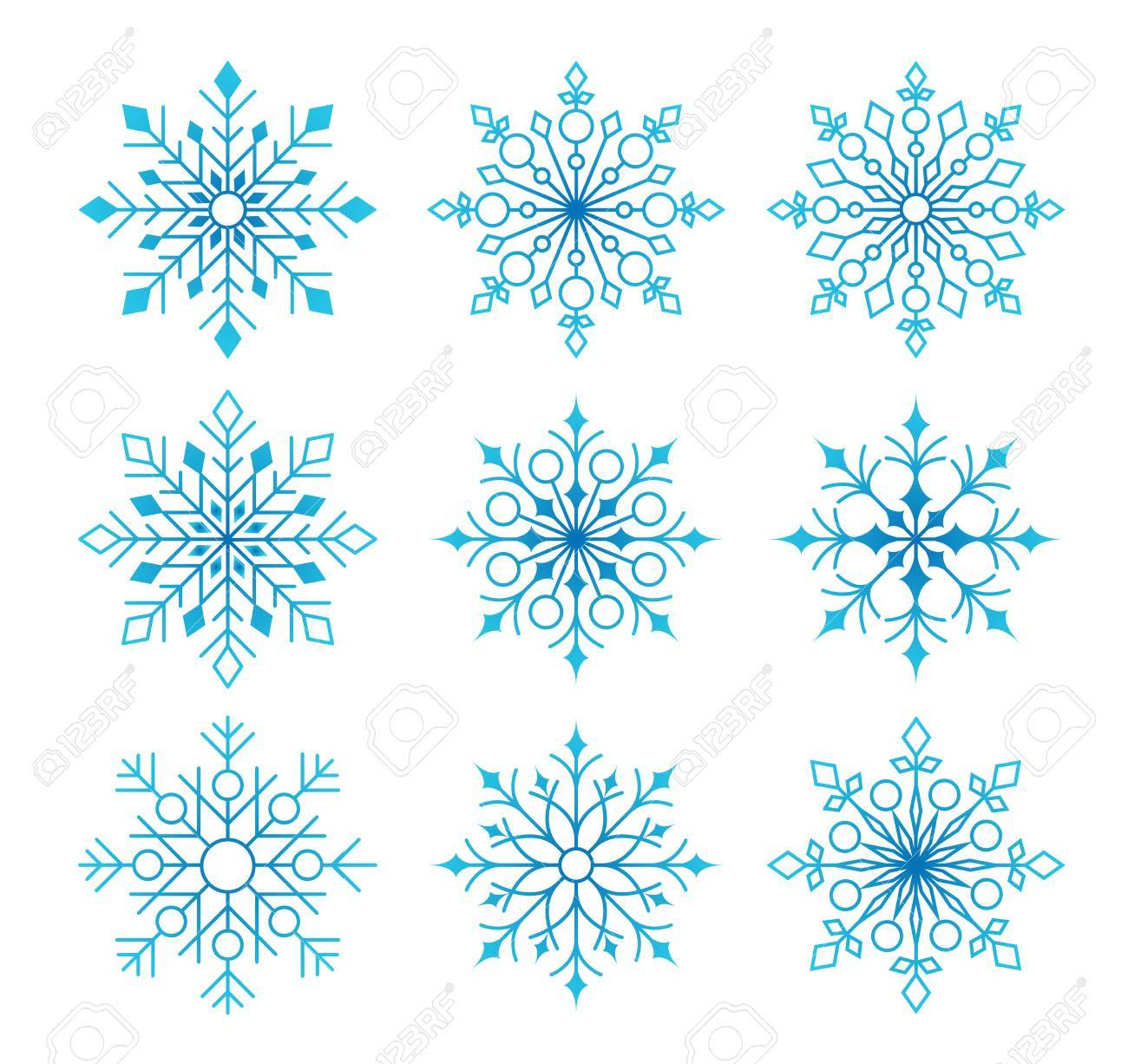 Beautiful Collection of Snow Flakes Isolated in White Background for Winter Season. Vector Illustration - 47108713