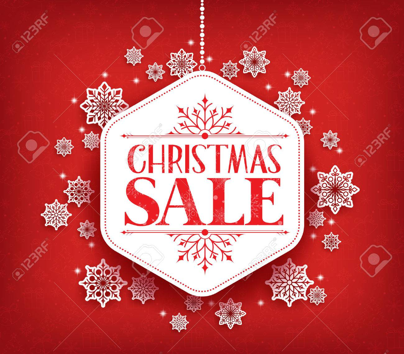 Merry Christmas Sale in Winter Snow Flakes Hanging with White Space for Text. Vector Illustration - 47417561