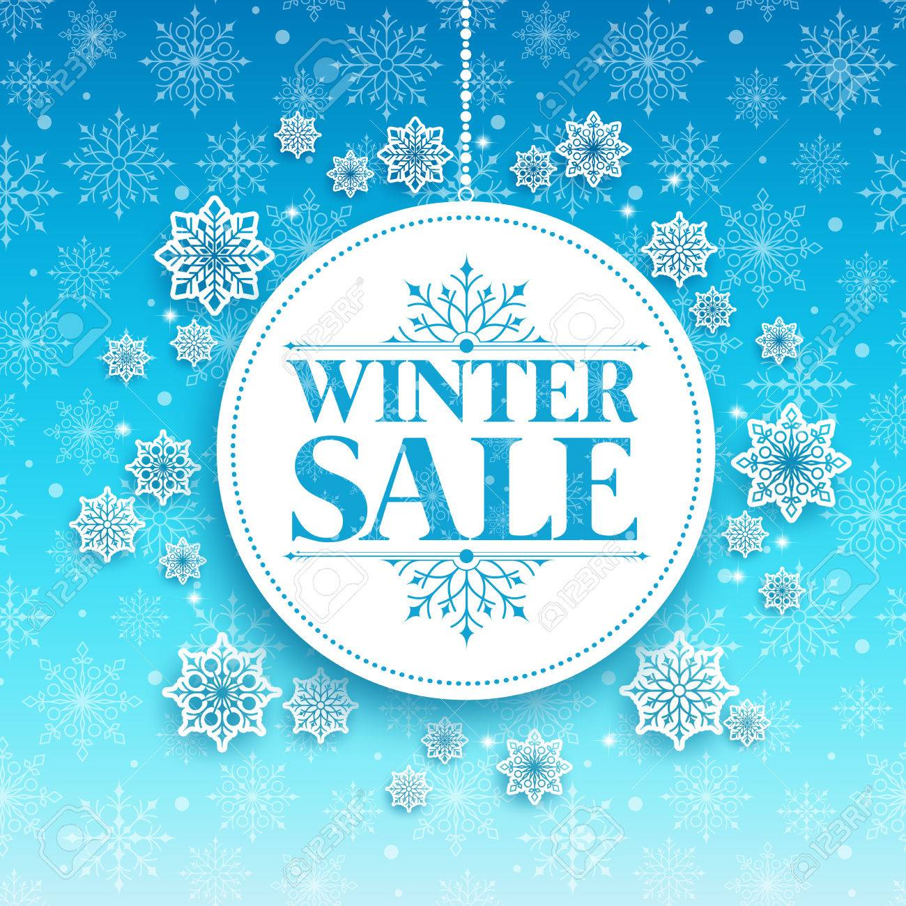 Winter Sale Text in White Space with Snow Flakes Hanging in Blue Pattern Background. Vector Illustration - 47417563